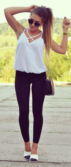 Styleev White Strappy Top Everyday Stylish Summer Outfit Idea