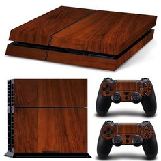 PS4 dark wood decal sticker skin for sony playstation 4. For console and controller's