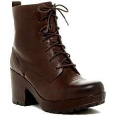 Kork-Ease Cona Miltary Boot (205 BAM) ❤ liked on Polyvore featuring shoes, boots, dark brown, platform boots, dark brown boots, military boots, leather lace up boots and leather military boots