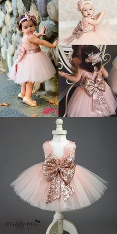 Unique Prom Dresses, Cute Short Pink Flower Girl Dress with Bow, There are long prom gowns and knee-length 2020 prom dresses in this collection that create an elegant and glamorous look Pink Flower Girl Dresses, Baby Girl Party Dresses, Little Girl Dresses, Baby Dress, Baby Tutu Dresses, Flower Girl Tutu, Lace Flower Girls, Baby Girl Frocks, Frocks For Girls