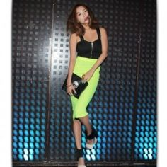 Charming High Waist Candy Color Slim Skirt Green Neon Skirt, Candy Colors, Bodycon Dress, Sporty, Slim, High Waist, Beautiful, Dresses, Green