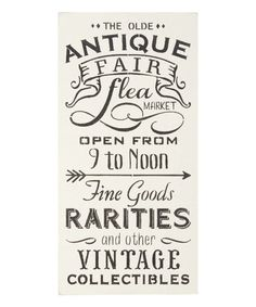 Take a look at this 'The Olde Antique Fair' Indoor/Outdoor Wall Sign today!