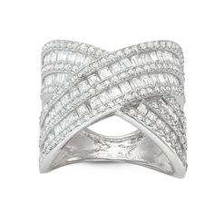 Gioelli Sterling Silver Cubic Zirconia Wide Cross Band Ring (Size 11), Women's, White