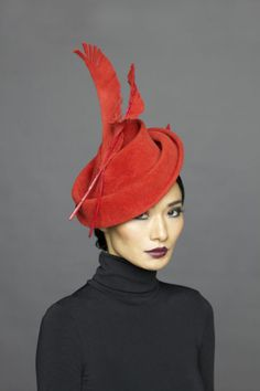 Lock Co Hatters, Couture Millinery A/W 2013 - Anna May Wong red felt formed hat Millinery Hats, Fascinator Hats, Fascinators, Headpieces, Cocktail Hat, Fancy Hats, Love Hat, Hat Shop, Red Hats