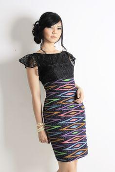 Ikat dress | Kebaya Dress | Off shoulder dress | Tenun rang rang | tenun ikat | Rupeshwari Ikat Rang-rang Dress | DhieVine | Redefine You