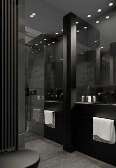 Hoy en día son más las personas que optan por agregar tonos oscuros a los baños. Colores que van desde los grises oscuros, marrones, negros… en acabados como pueden ser los alicatados y sanitarios. Para baños grandes, también puedes optar por hormigones o cementos pulidos, maderas y piedras variadas. #baños #bañososcuros #decoración #ideasbaño #ideas #tonososcuros Home Building Design, Home Room Design, Dream Home Design, Modern House Design, Dream House Interior, Luxury Homes Dream Houses, Black Interior Design, Bathroom Design Luxury, Dark Interiors