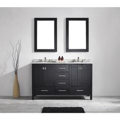 The Eviva Aberdeen 60 inch bathroom sink vanity has unique and very simple lines that define its simplicity and its consistency in style. The Eviva Aberden comes with a double layer Italian white carr