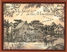 Stampscapes Old Mill Men's Cards, Card Making Tutorials, Masculine Cards, 2 Colours, Bridges, I Card, Cardmaking, Stamping, Card Ideas