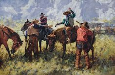 Michael Dudash, Mister, Those Horses Yonder Are the Last You'll Be Rustlin, 28 x - Southwest Art Magazine World Oil, Cowboy Images, Heritage Museum, Cowboy Art, Southwest Art, Country Art, Old West, Christian Art, Summer Art