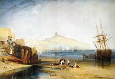 Scarborough Town and Castle. Morning.Boys Catching Crabs - William Turner, 1811