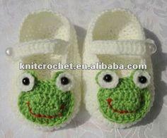 Handmade Hand Knit Beaded Crochet Frog Animal Baby Shoes
