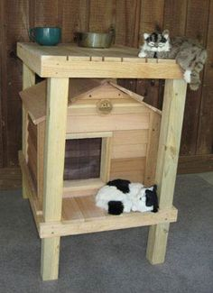 Cat House with Platform & Loft..May have to try and make this for the newest stray kitty that showed up..