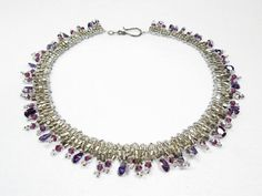 Netted Amethyst and Silver Necklace by kiddercreations on Etsy, $65.00