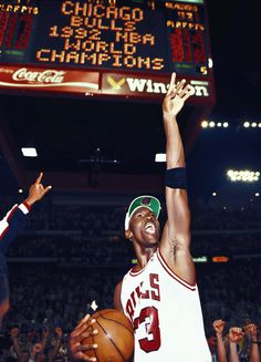 Michael Jordan Chicago Bull 1992 NBA world champions. I can't wait for this to happen again...here's to hoping.