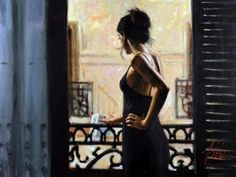 At the Balcony by Fabian Perez. Love this!
