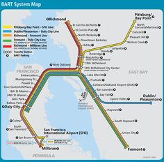 BART Map - Bay Area Rapid Transit- transportation in and around the San Francisco Bay Area San Francisco Bay, Visiter San Francisco, San Francisco Travel, San Francisco California, San Francisco Transit, Lombard Street, Ponte Golden Gate, Golden Gate Bridge, Pacific Coast Highway