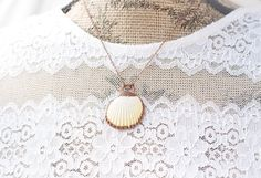 Camino Scallop Shell Pendant Copper Necklace by DreamyDellDesigns