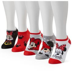 Disney 5-pk. Women's No-Show Socks (€11) ❤ liked on Polyvore featuring intimates, hosiery, socks, red, graphic socks, disney, disney socks, red socks and red slip