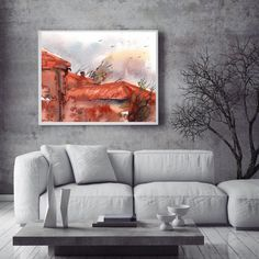 Terracotta roofs art print, watercolor painting print, roofs painting, modern cityscape wall art by CanotStopPrints on Etsy