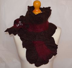 Brown and red merino wool felted scarf with flower pin. Handmade. by jaracedesigns on Etsy