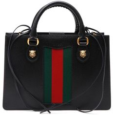 GUCCI bicolor strap leather handbag ($2,330) ❤ liked on Polyvore featuring bags, handbags, genuine leather purse, leather bags, purse bag, gucci bags and hand bags