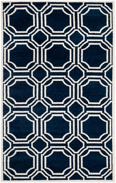 Modern Moroccan Tiles Navy Blue Rugs - Safavieh 152x243 on sale in the UK along with best prices on many other flooring goods.