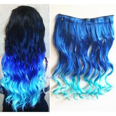 Sapphire Blue to Sky Blue Two Colors Ombre Hair Extension Synthetic... ($9) ❤ liked on Polyvore featuring bath & beauty, grey, hair care and hair extensions