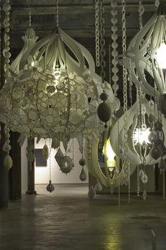 Kafijas krūze: Tamborēti lampu abažūri (crochet lamp shades)