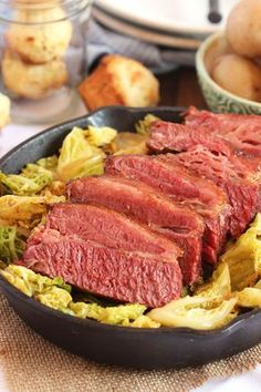 The Very Best Corned Beef and Cabbage . This Corned Beef and Cabbage recipe is easy to make. Ale braised corned beef is roasted with simple ingredients and Crock Pot Recipes, Slow Cooker Recipes, Cooking Recipes, Skillet Recipes, Easy Recipes, Chicken Recipes, Roasted Cabbage, Corn Beef And Cabbage, Cabbage Recipes
