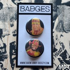 Set mit 2 Hulk Hogan Macho Man Buttons Pin Badges The Mega Powers 25mm 1inch Badge Button World Wrestling Federation WWF Randy Savage von ThrowAwaySocietyShop auf Etsy