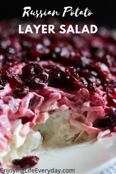 This recipe is the best Russian Potato Layer Salad, it is a vegetarian recipe, easy to make, and keeps in the fridge very well for even a couple of days. So you can make it ahead and serve it the next day. This recipe is authentic Russian with a pomegranate layer at the top. But it tastes delicious if you would like to use cranberries instead. #sidedish #layersalad #potatosalad #salad Veggie Recipes Healthy, Salad Recipes, Vegetarian Recipes, Brunch Ideas, Brunch Recipes, Layer Salad, How To Cook Potatoes, Food For A Crowd, Dinner Rolls