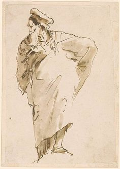 Giovanni Battista Tiepolo | Standing Man in Exotic Costume | Drawings Online | The Morgan Library & Museum