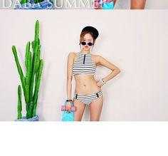 Striped Halter Bikini - DABAGIRL | YESSTYLE