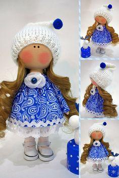 Christmas Doll Textile Doll Cloth Winter Doll Handmade Blue Doll Tilda Doll Interior Nursery Doll Rag Decor Doll Fabric Poupée Doll Ksenia __________________________________________________________________________________________ Hello, dear visitors! This is handmade cloth doll