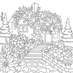 Cottage floral coloring page to color with Color Therapy: http://www.apple.co/1Mgt7E5 #colortherapyapp #coloring #adultcoloringbook