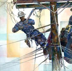 Line and Space an original watercolor painting by California artist Ken Goldman. A fine art giclée printed on Arches watercolor paper is available at an affordable price (museum quality). Arches Watercolor Paper, Watercolor Logo, Watercolor Paintings, Power Lineman, Lineman Wife, Lineman Tattoo, Pole Art, California Art, Painting People