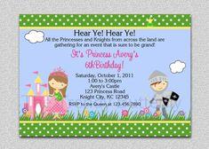 Princess Knight Party Invitation Princess Knight  Birthday Party Invitations Twins Siblings Printable Boy and Girl