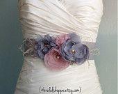 Ready to Ship Bridal Sash Romance - Grey and Pink Bridal Belt Wedding Dress Sash