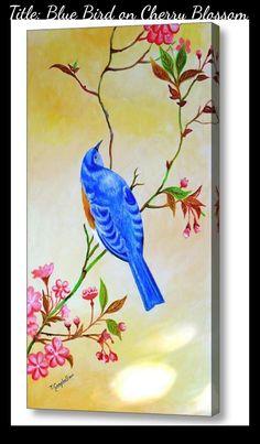 Acrylic on canvas x unframed Blue Bird, Cherry Blossom, Canvas, Artist, Painting, Tela, Artists, Painting Art, Canvases