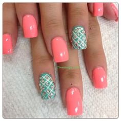 Coral & Teal Mani! Come to Luxury Spa & Nails for all of your pampering needs! Call (803) 731-2122 or visit www.luxuryspaandnails.weebly.com for more information! CLICK.TO.SEE.MORE.eldressico.com