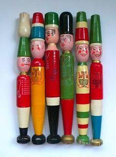 ≥ Vintage set van 6 Houten Fluit Figuren 1950's Tsjechie - Antiek | Speelgoed - Marktplaats.nl