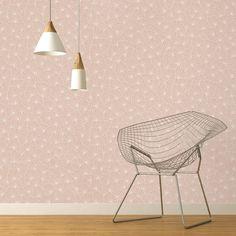 Papier peint SACHA 100% intissé motif graphique, rose poudré | Saint Maclou