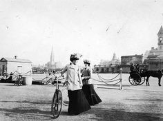Two ladies with bicycles at Kingstown, somewhere between 1890 and 1910 Michael Church, St Michael, Old Photos, Vintage Photos, Dublin Street, Irish Eyes, Dublin Ireland, Vintage Photography, Historical Photos