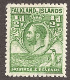 """Falkland Islands 1929-31 1/2p green """"King George V"""""""