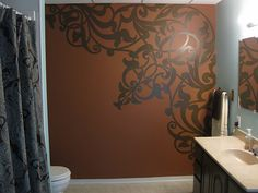 Idea for that big blank wall in the master bedroom, she also did flat w/ gloss on it in swirls in her kitchen!