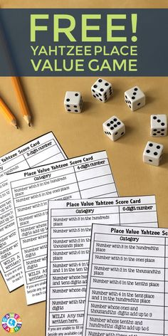 This FREE place value game works for a variety of grade levels! Yahtzee Score Sheets, Math College, Math School, Math Night, Fifth Grade Math, Fourth Grade, 4th Grade Math Games, Year 6 Maths, Math Intervention