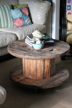 old wire spool turned into coffee table