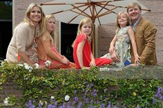 Queen Maxima of the Netherlands, Crown Princess Catharina-Amalia of the Netherlands, Princess Alexia of the Netherlands, Princess Ariane of the Netherlands and King Willem-Alexander of the Netherlands pose during the annual summer photocall at Horsten Estate on July 19, 2013 in Wassenaar, Netherlands.