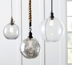 PB Classic Pendant - Glass Globe | Pottery Barn: Pole Kit, Bronze Finish for over kitchen table