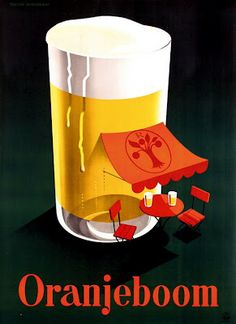 Dutch ad poster for Oranjeboom (Orange Tree) beer - 1950 - artist Reyn Dirksen. Vintage Advertising Posters, Vintage Labels, Vintage Travel Posters, Vintage Cards, Vintage Advertisements, Beer Poster, Poster Ads, Beer Advertisement, Sous Bock